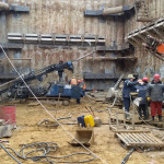 Комплекс работ по анкерному креплению ограждения котлована на участке Калининско-Солнцевской линии Московского метрополитена